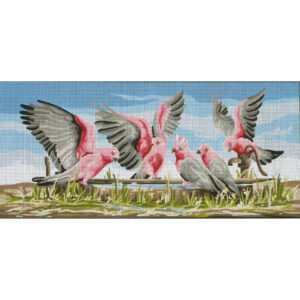 Country Threads Tapestry Printed Galahs by the Waterpump Canvas