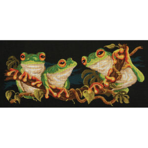 Country Threads Tapestry Printed Green Frogs Canvas