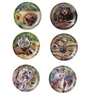 Ashdene Set 6 Native Animals China Trinket Dish Bowl New