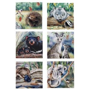 Ashdene Set 6 Native Animals Glass Trivet Hot Pot Stand New