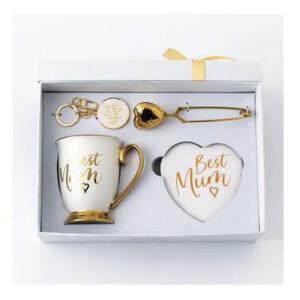Elegant Best Mum White Mug Coaster Tea Infuser Keyring Set Giftboxed