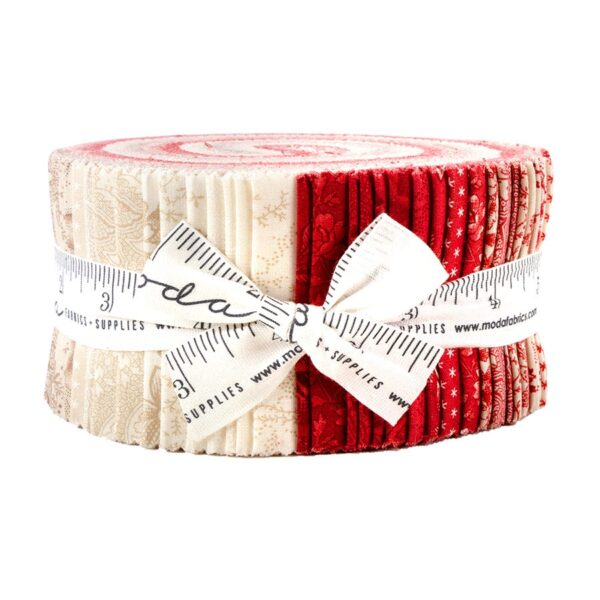 Moda Quilting Jelly Roll Patchwork Cranberries Cream 2.5 Inch Sewing Fabrics