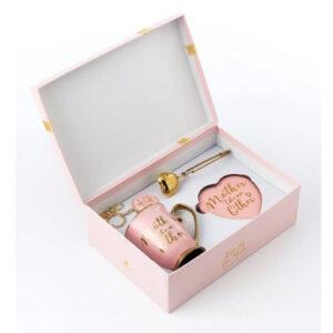 Elegant Mother Like No Other Pink Mug Coaster Tea Infuser Keyring Set