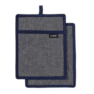 Ladelle Eco Recycled Navy Pot Holders Set of 2 for Hot Oven