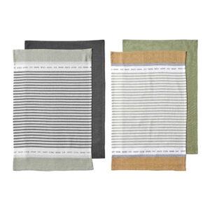 Ladelle Revive Kitchen Tea Towels Cotton Dish Cloths Set of 4