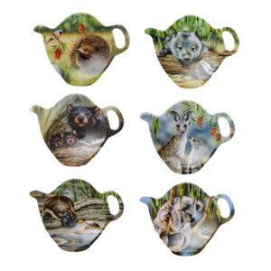 Ashdene Set 6 Native Animals Teabag Holder Spoon Rest New