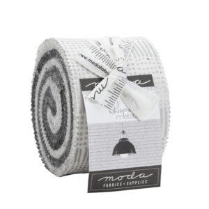 Moda Quilting Junior Jelly Roll Whispers Metallic Silver 2.5 Inch Fabrics