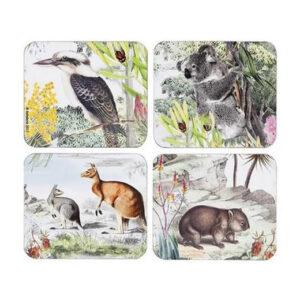 Ashdene Dining Kitchen Wildlife Australia Cork Back Coasters Set 4