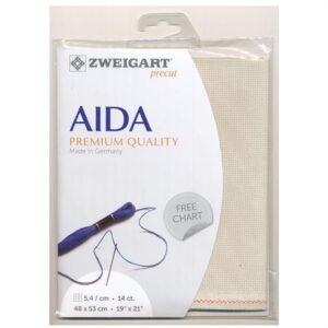 Cross Stitch Aida Cloth 14ct Zweigart Fawn/Platinum 48x53cm Fabric