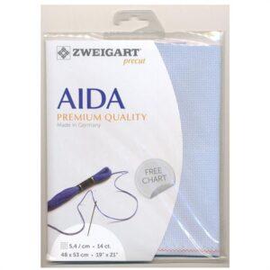 Zweigart Cross X Stitch Aida Cloth 14 Count Pale Blue 48x36cm Fabric