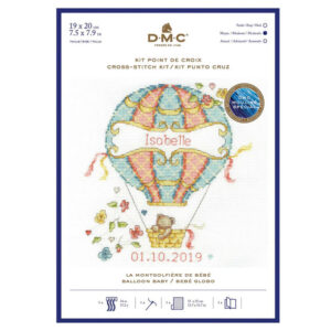 DMC Cross Stitch Kit For Baby Sampler Hot Air Balloon 19x20cm