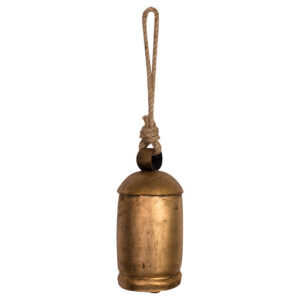 French Country Rustic Large Brass Cow Bell with Rope