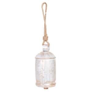 French Country Rustic Large Brass Cow Bell with Rope Whitewash