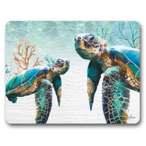 Kitchen Cork Backed Placemats AND Coasters Green Turtle Pair Set 6