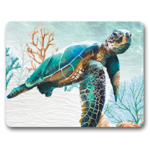 Kitchen Cork Backed Placemats AND Coasters Green Turtle Elliot Set 6
