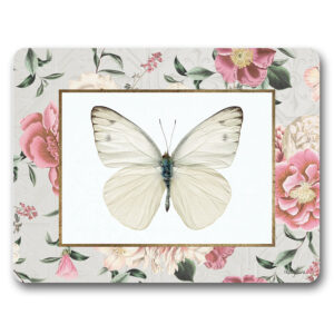 Kitchen Cork Backed Placemats AND Coasters Vintage Floral Butterfly Set 6