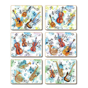Country Kitchen Making Music Cinnamon Cork Backed Coasters Set 6