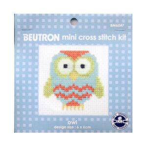 BEUTRON Cross Stitch Kit For Beginner Owl 6x6cm