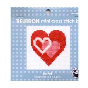 BEUTRON Cross Stitch Kit For Beginner Heart 6x6cm