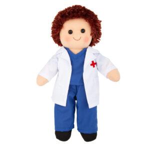 Hopscotch Lovely Soft Rag Doll Dr Derek Boy Dressed Doll Large 35cm