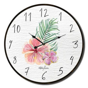 Clock Country Vintage Inspired Wall Hibiscus Palm 34cm