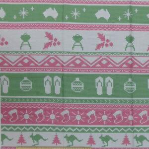 Patchwork Quilting Sewing Fabric Aussie Festive Knitting Pink Panel 65x110cm