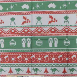 Patchwork Quilting Sewing Fabric Aussie Festive Knitting Red Panel 65x110cm