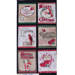 Patchwork Quilting Sewing Fabric Christmas Postcard Holiday Panel 62x110cm