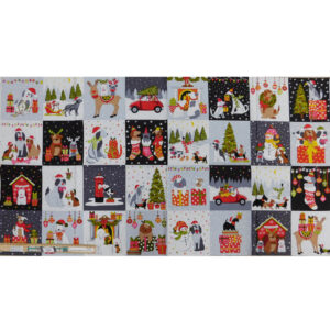 Patchwork Quilting Sewing Fabric Doggy Christmas Panel 59x110cm