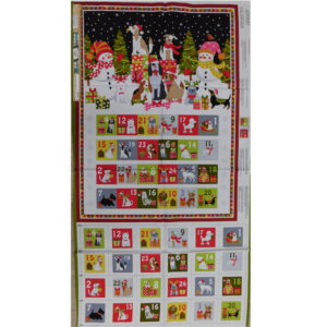 Patchwork Quilting Sewing Fabric Doggy Christmas Advent Panel 59x110cm