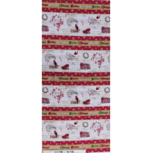 Patchwork Quilting Sewing Fabric Christmas Postcard Border 50x110cm