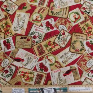 Quilting Patchwork Fabric Postcard Christmas Allover 50x55cm FQ