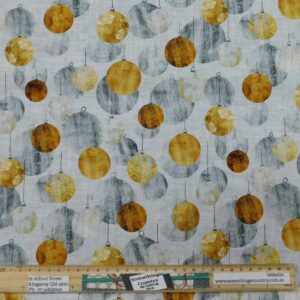 Quilting Patchwork Fabric Subtle Christmas Baubles Allover 50x55cm FQ