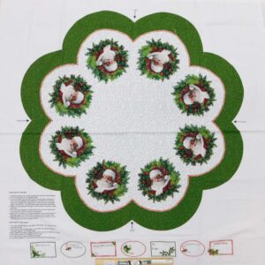 Patchwork Quilting Sewing Fabric Here's Santa Tree Skirt Panel 110x110cm