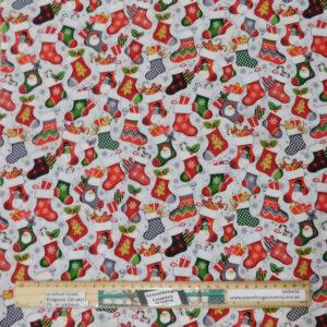Quilting Patchwork Fabric Noel Stockings Allover 50x55cm FQ