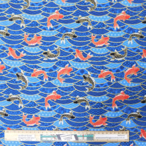 Patchwork Quilting Sewing Fabric Japanese Koi Fish 50x55cm FQ