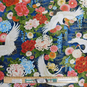 Patchwork Quilting Sewing Fabric Japanese Crane in Flight 50x55cm FQ