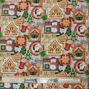 Quilting Patchwork Fabric Christmas Cookies Allover 50x55cm FQ