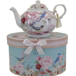 French Country Lovely Teapot BLUE BIRDS China Tea Pot Giftboxed