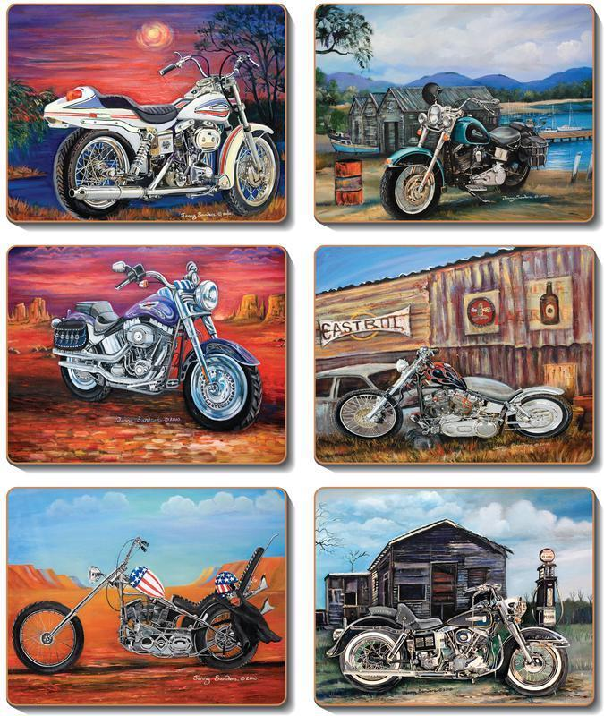 Country Kitchen American Classic Motorbikes Cork Placemats Coasters