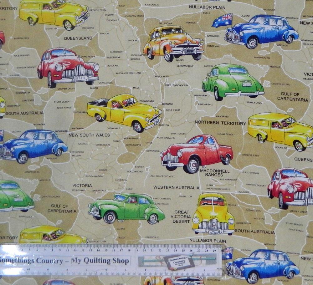 Country Patchwork Quilting Cotton Fabric Australian Road Map Sewing