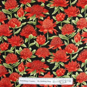 Quilting Patchwork Sewing Fabric Waratah 50x55cm FQ