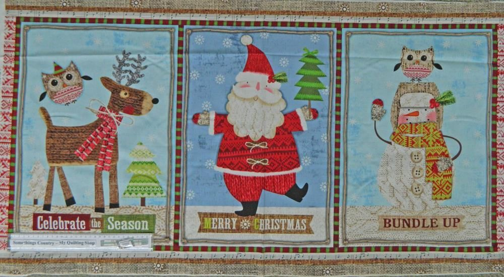Patchwork Quilting Sewing Fabric Christmas Bundle Up Xmas Panel