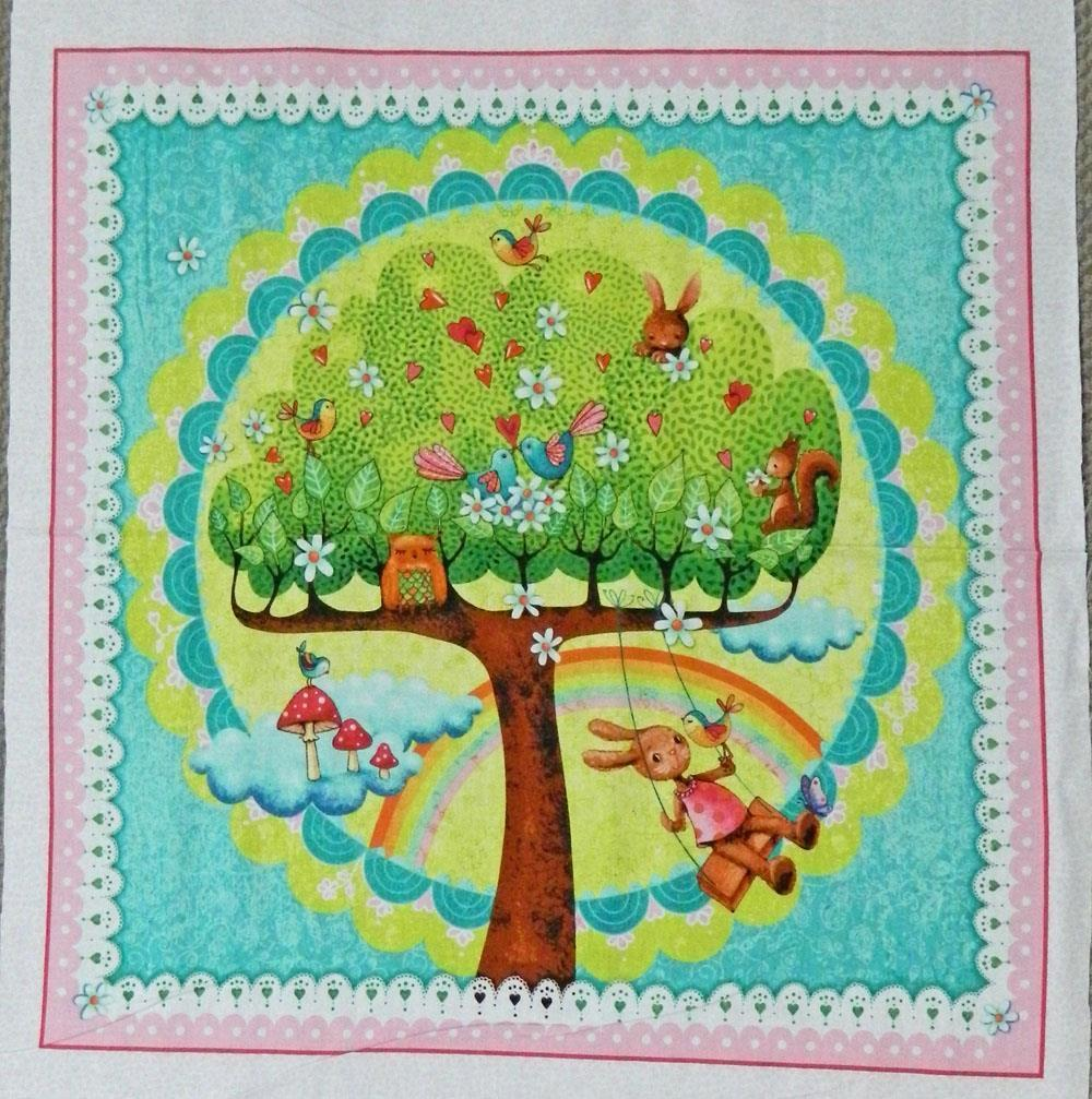 Patchwork quilting sewing fabric rainbow woodland