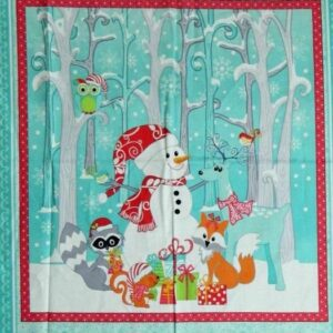 Country Patchwork Quilting Fabric - Xmas Frosty Friends Owls -Panel 60x110cm New