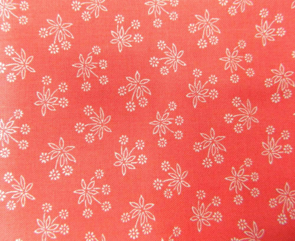 Patchwork Quilting Sewing Fabric CORAL RED White Flowers FQ 50x55cm New Material