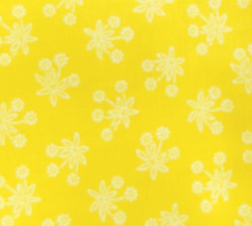 Patchwork Quilting Sewing Fabric GOLDY YELLOW White Flowers FQ 50x55cm New Material