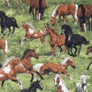 Quilting Patchwork Sewing Fabric Horses Running Free 50x55cm FQ