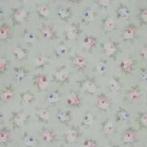 Patchwork Quilting Sewing Fabric SPRING ROMANCE Rosebuds Green FQ50x55cm New Material