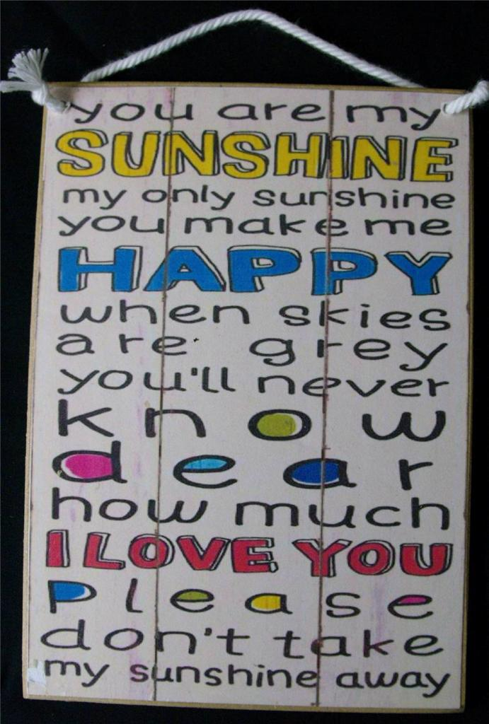 Country Printed Quality Wooden Sign With Hanger You Are My Sunshine Plaque New